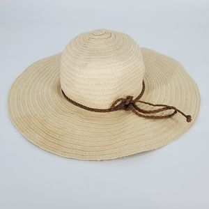 Accessories - Beach sun hat braided leather summer boho